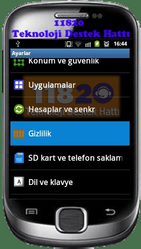 Android, Gizlikik Ayarları, Android Fabrika Ayarlarına Sıfırlama,