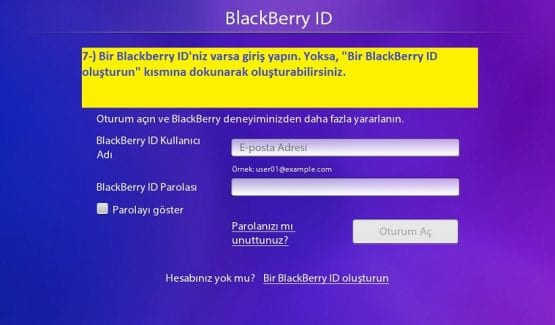 Blackberry ID Oluşturma, PlayBook, BlackBerry, PlayBook İlk Kurulum