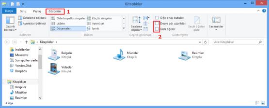 Windows 8 Gizli Dosyaları Açmak Göstermek