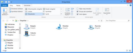 Windows 8 Dosya Uzantılarını ve Gizli Dosyaları Görmek