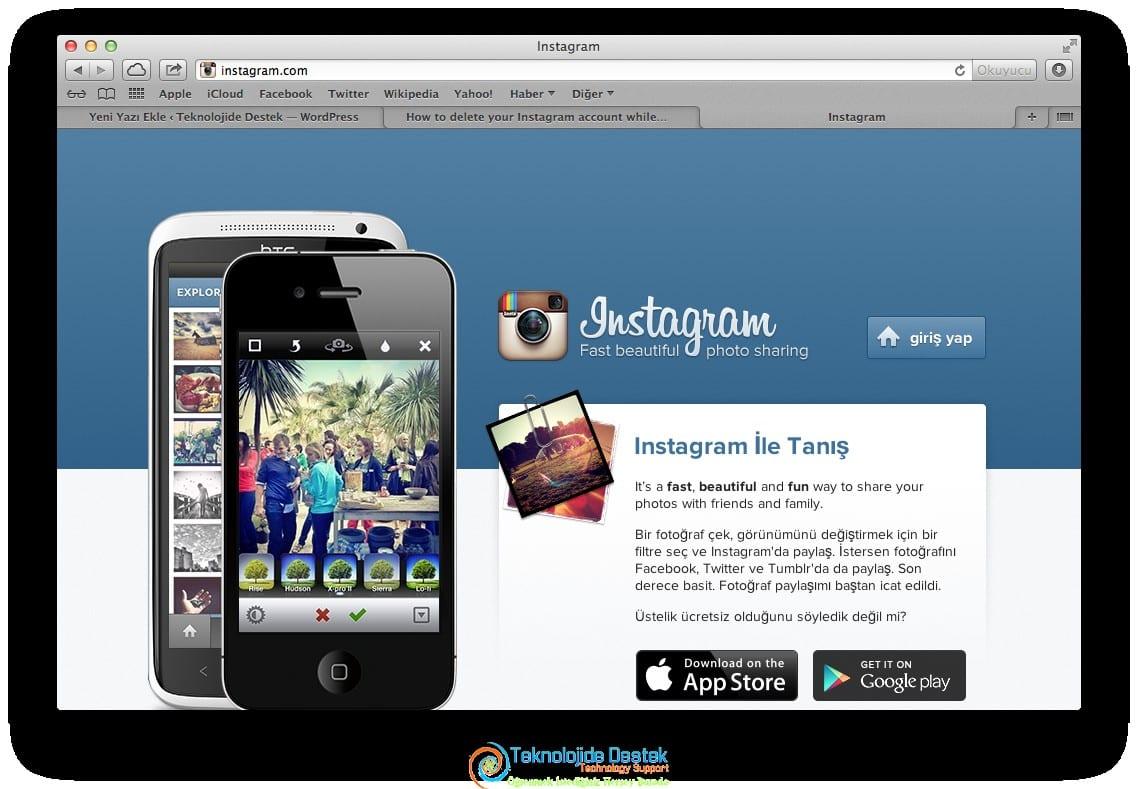 Instagram hesabını silme