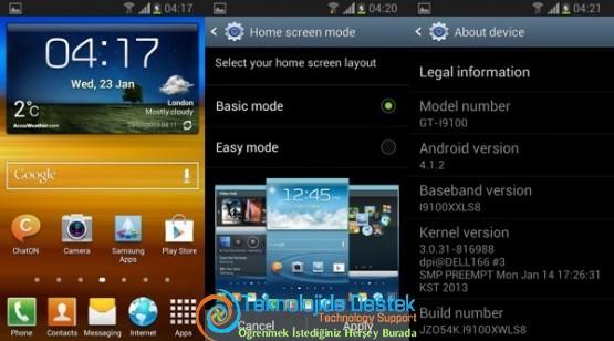 Samsung Galaxy S II Android 4.1.2 Güncellemesi