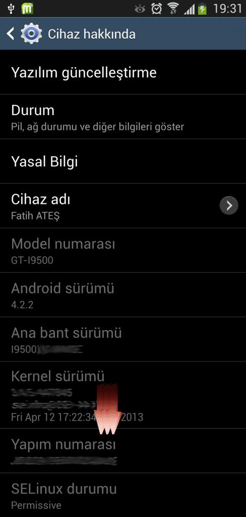 Samsung i9500 Galaxy S4 USB Hata Ayiklama Acmak (5)