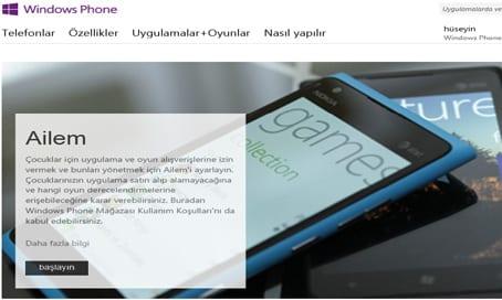 Windows Phone Microsoft Hesabi Ailem Ayarlari