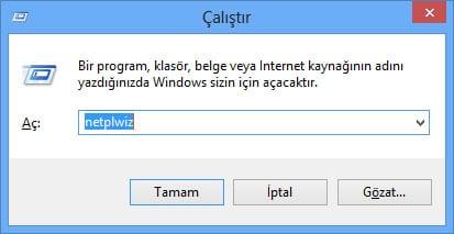 Windows 8 Açılış Parolasını Kaldırma