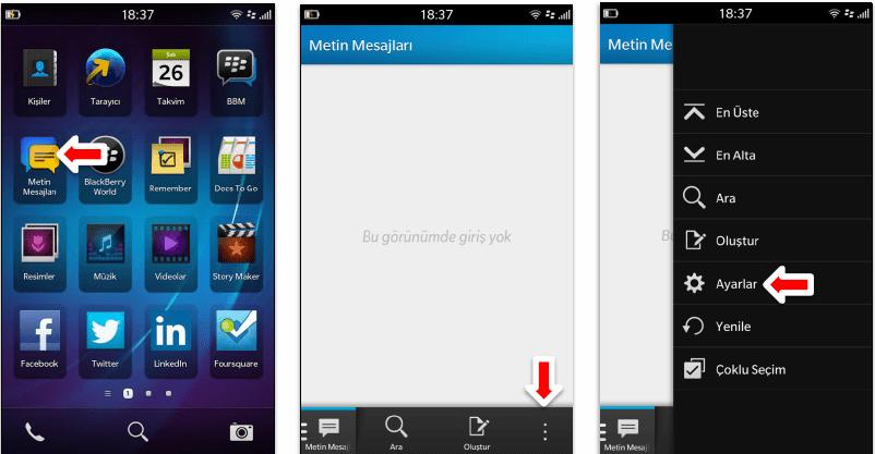 Blackberry Z10 Manuel MMS Ayarlar
