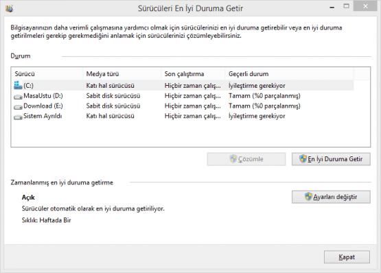 Windows 8 de SSD Birlestirme Nasil Kapatilir 01