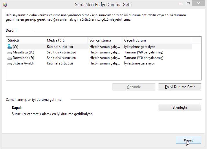 Windows 8 de SSD Birlestirme Nasil Kapatilir 04