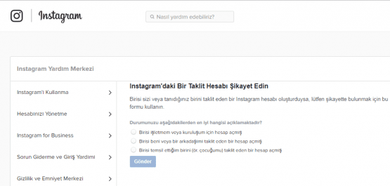 instagram taklit hesap şikayet