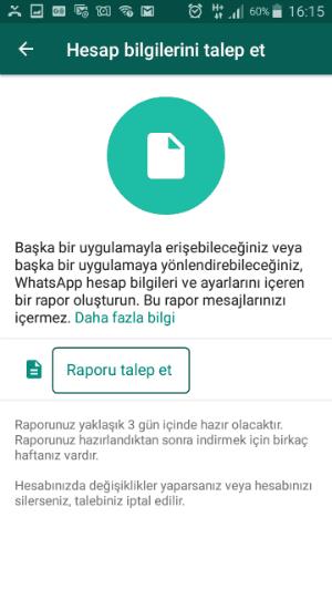 hesap bilgilerini talep etme whatsapp,whatsapp hesap bilgilerini talep etme,whatsapp kişisel verileri indirme,whatsapp rapor talep etme,