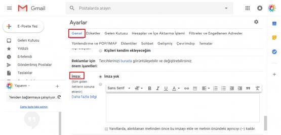 gmail imza eklemek, gmail imzaya logo ekleme