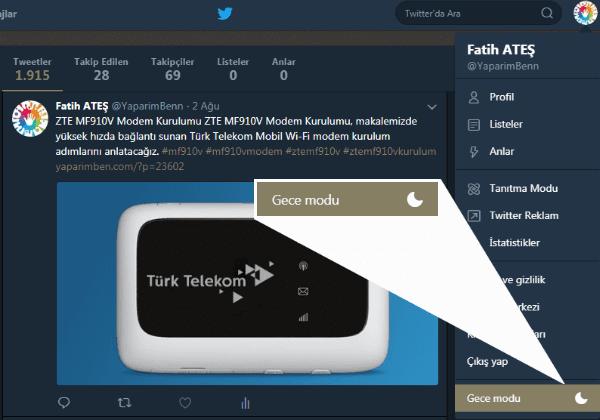 Twitter Gece Modu Nasıl Yapılır