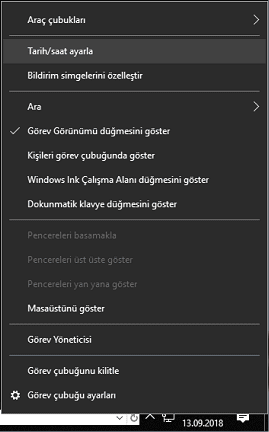 windows 10 tarih ve saat biçimi