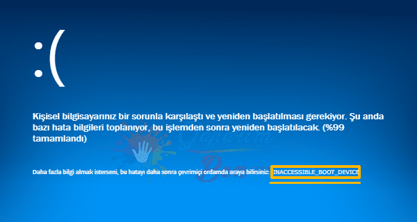 Inaccessible Boot Device Hatası Çözümü