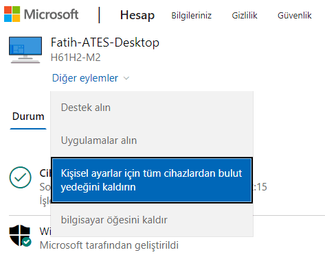 Windows 10 Hesap Senkronizasyonu Kapatma