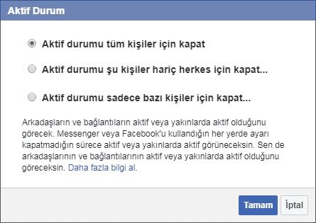 Facebook ta Çevrimdışı Görünmek