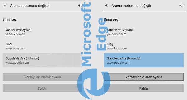 Microsoft Edge Arama Motoru Değiştirme