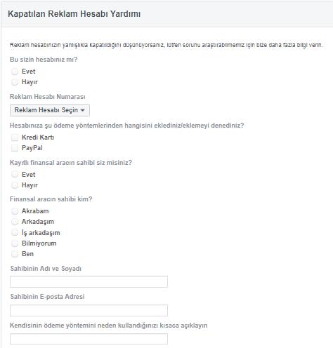 Facebook Reklam Hesabım Kapatıldı