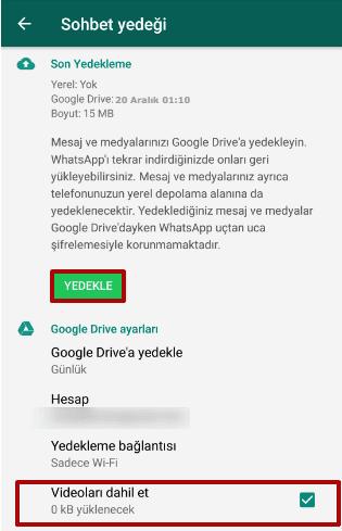 WhatsApp Yedek Alma