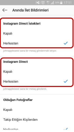 Instagram Direct Mesaj Bildirimi Gelmiyor