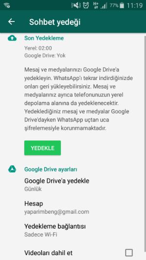 Android Yedekleme ve Geri Yükleme