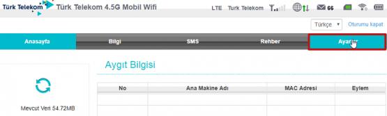 Türk Telekom 4.5G Mobil Modem Kablosuz Ayarları için hazırlanmış makalenin görselleri 04
