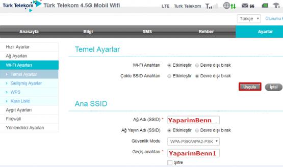 Türk Telekom Mobil Modem Kablosuz Ayarları için hazırlanmış makalenin görselleri 06