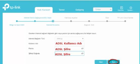 TP Link Archer VR2800 Modem Kurulumu için ADSL Bilgilerinin Giriş Yapıldığı Bölüm