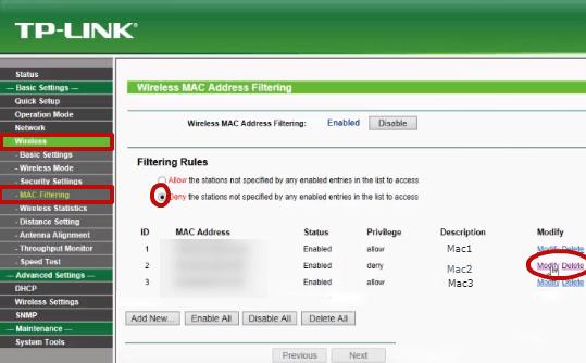 Tp Link WA5210G MAC Filtreleme 04
