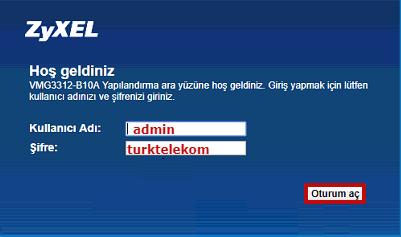 ZyXEL VMG3312-B10B Access Point Kurulumu için hazırlanmış görseller. Arayüz şifre ekranı.