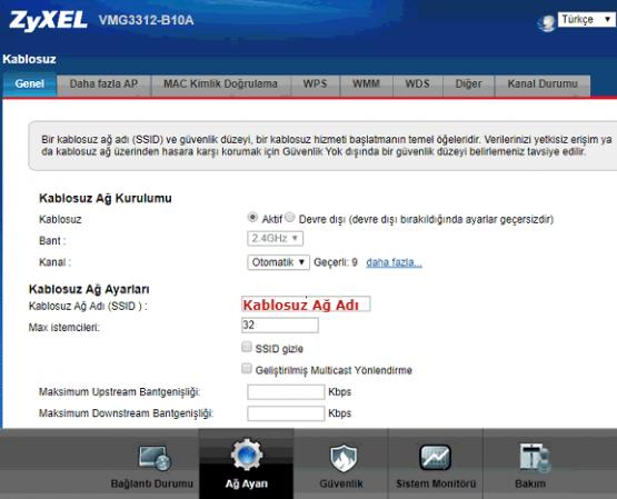 ZyXEL VMG3312-B10B Access Point Kurulumu için hazırlanmış görseller. Kablosuz Ayarları