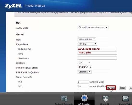 Zyxel P1302-T10D Modem Kurulumu 05