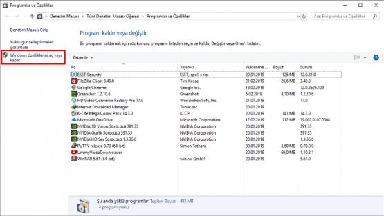 Internet Explorer 11 Windows 10 dan Kaldırma için kullanılan Denetim Masası adımları.
