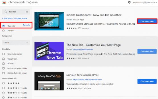 Chrome Yeni Sekme Sayfasını Özelleştirme Makalesi için hazırlanmış İşlem Adımları.