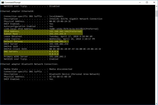 Windows 10'da ipconfig /all komutunun ekran görüntüsü.
