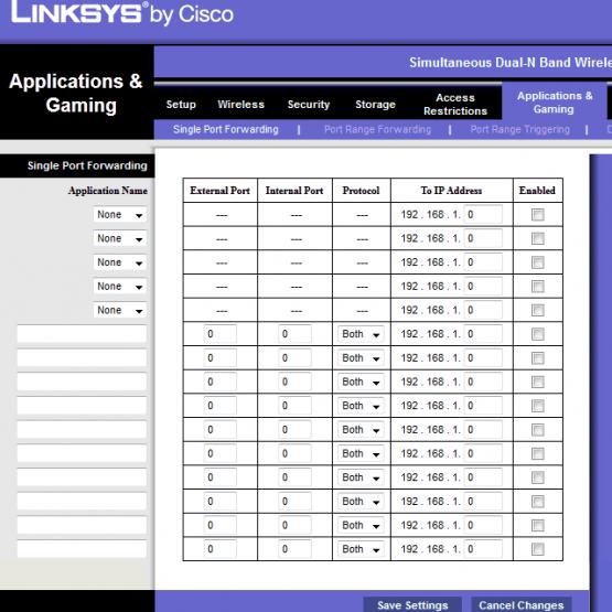 Linksys WRT610N'deki port açma ayarlarının ekran görüntüsü