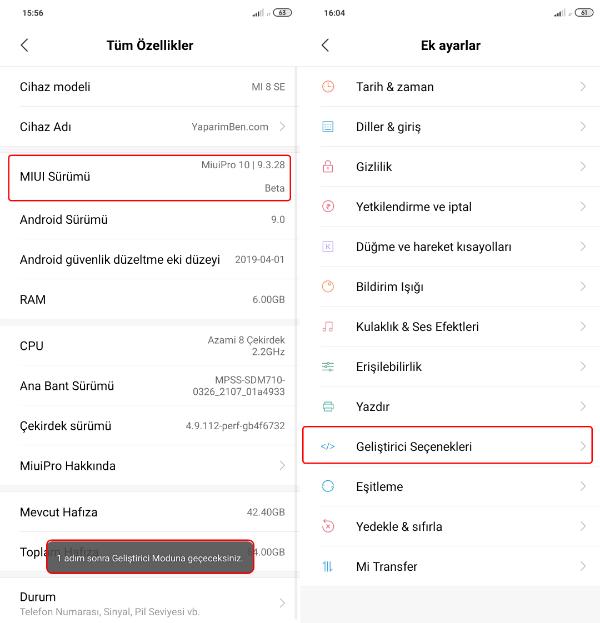 Xiaomi Mi 8 Geliştirici Seçenekleri Açma Adımları