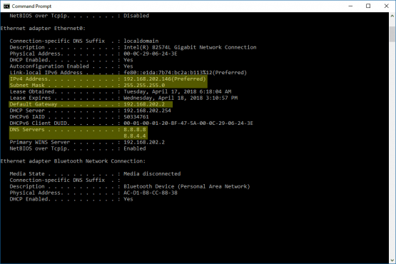 Bilgisayar için Statik IP Adresim Nedir ekran görüntüsü.