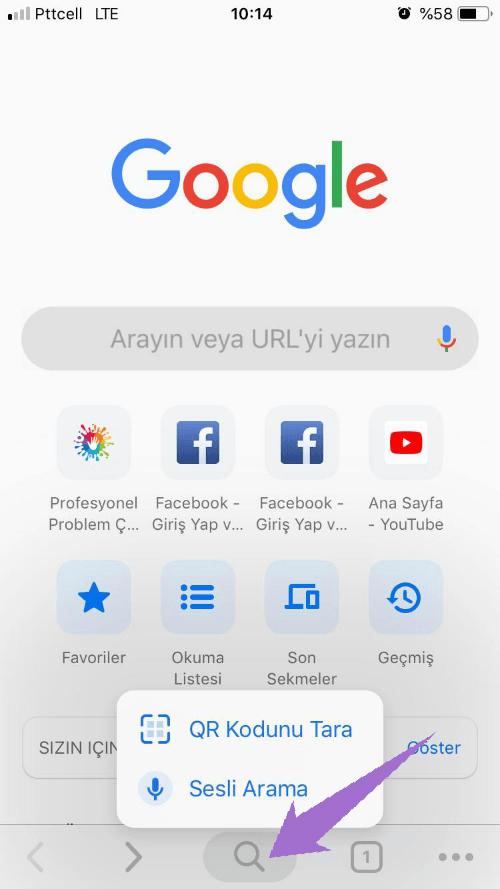 iPhone için Chrome Sesli Arama ve QR Tarama Hareketi