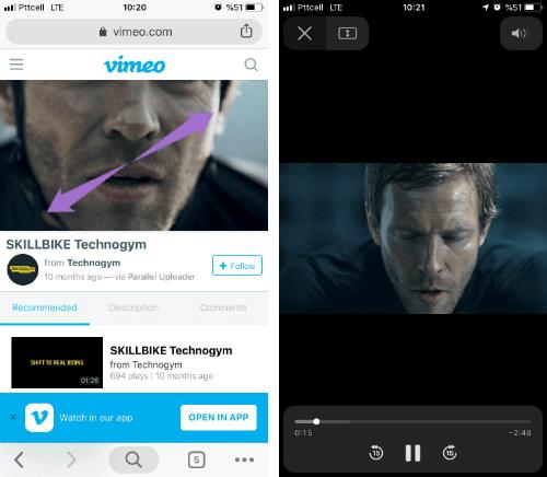 iPhone için Chrome Videoları Tam Ekran Yapma Hareketi