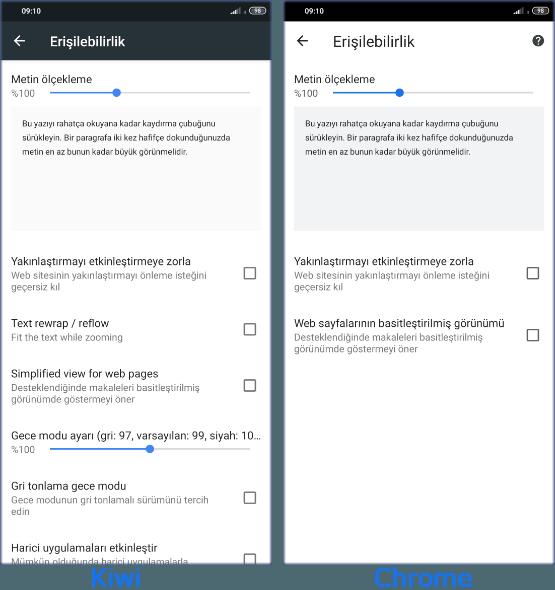 Kiwi Browser vs Google Chrome Karşılaştırması için Ekran Görüntüleri.