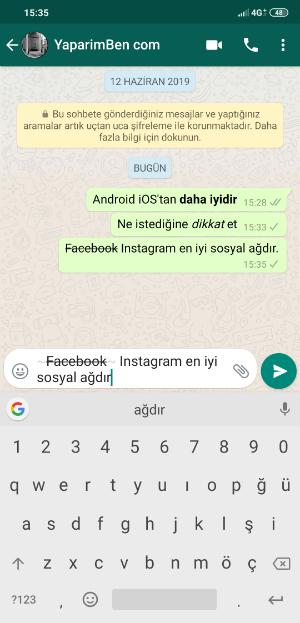 WhatsApp Üstü Çizili Yazı Tipi