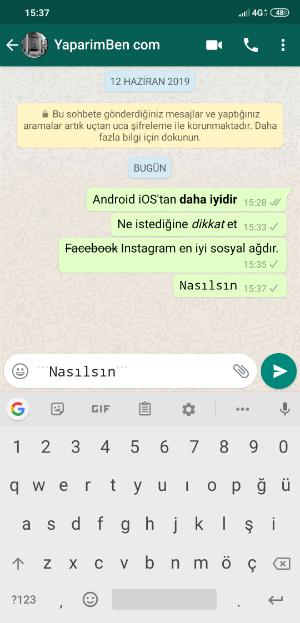 WhatsApp Farklı Yazı Fontu