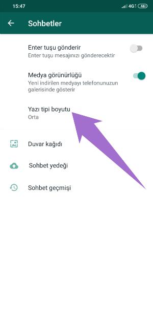 WhatsApp Yazı Tipi Değiştirme Yazı Boyutu