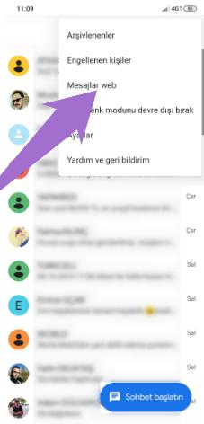 Bilgisayardan SMS Gönderme için Google Mesajlar