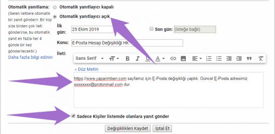 Gmail Otomatik Yanıt Oluşturma