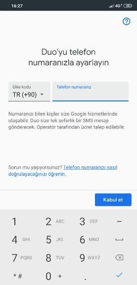 Google Duo Hesap Doğrulama Adımı