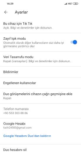 Google Duo Seçenekler