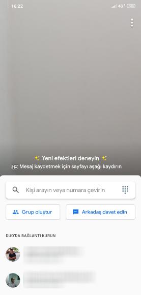 Google Duo Ana Ekran