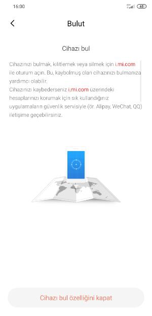 Xiaomi Cihaz Bul Kapatma Adımları